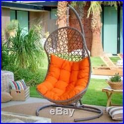 Belham Living Cocos Resin Wicker Hanging Egg Chair With Cushion And Stand Hn