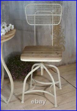 Bistrostuhl Biergartenstuhl Garten Stuhl Metall mit Natur Holzsitz Antik Stil