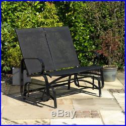 Black 2 Person Steel PVC Glider Chair Patio Furniture Bench Rocking Chair Garden