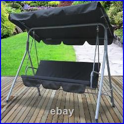 Black Hammock Swinging 3 Seater Chair Outdoor Furniture Canopy Adjustable Garden