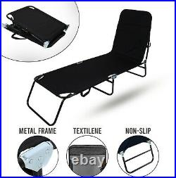 Black Outdoor Foldable Sun Lounger Recliner Bed Garden Chair Relaxing Camping