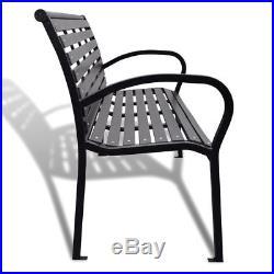 Black Patio Park Garden Bench Porch Path Chair Outdoor Deck Seating Steel Frame