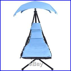 Blue Hanging Chaise Lounge Chair Arc Stand Air Porch Swing Hammock Chair Canopy