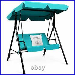 Blue Outdoor Swing Canopy Patio Swing Chair 2-Person Canopy Hammock
