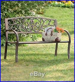 Bronze Ivy Vines Outdoor Garden Metal Bench Park Lawn Patio Seat Deck Furniture
