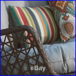 Brown 2 Person Resin Wicker Love Seat Hanging Porch Swing Outdoor Home Furniture