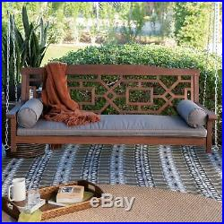Brown Mahogany 5-Foot Wood Porch Swing Outdoor Home Patio Furniture Cushion