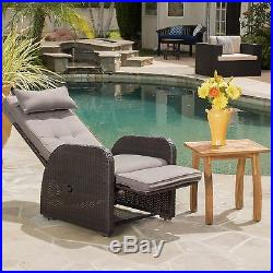 Brown Outdoor Recliner with Cushion