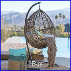 Pleasant Brown Resin Wicker Hanging Teardrop Egg Swing Stand Set Ocoug Best Dining Table And Chair Ideas Images Ocougorg