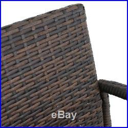 Brown Wicker Barstool Indoor Outdoor Patio Furniture All Weather Bar Stool-4 pcs