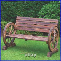 Burntwood Wooden Cart Wagon Wheel 2 Seater Garden Bench Outdoor Armrest Chair