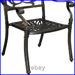 Cast Aluminum Arm Dining Chairs Set Patio Bistro Chairs, 2 pcs