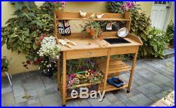 Cedar Potting Bench Table Garden Work Planting Benches ...