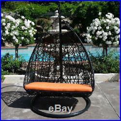 Chair Hanging Hammock 418 lbs Cap Black Orange Egg Shape Wicker Rattan Swing