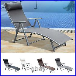 Chaise Lounge Chair Folding Pool Beach Adjustable Patio Furniture Recliner