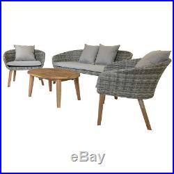 Charles Bentley Rattan & Hardwood Madrid Lounge Set 2 Chairs Sofa & Coffee Table