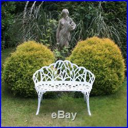 Charles Bentley White Tulip Cast Aluminium Metal 2 Seats Garden Patio Bench Seat