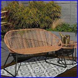 Charles Bentley Zanzibar 2 Seater Outdoor Garden Patio Bench Natural