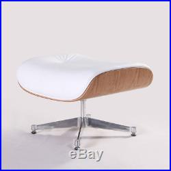 Classic Eames Style Lounge Chair and Ottoman Ashwood Top Grain White Leather Hot