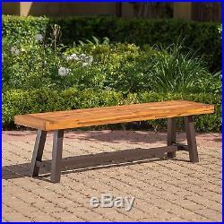 Colonial Outdoor Sandblack Finish Acacia Wood & Rustic Metal Bench