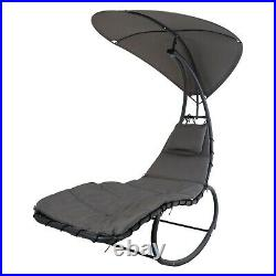 Comfortable Outdoor Garden Patio Metal Rocking Lounger Chair With Sun Roof Shade