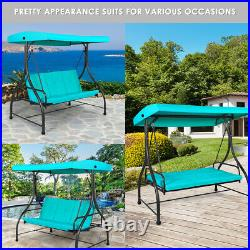 Converting Outdoor Swing Canopy Hammock 3 Seats Patio Deck Furniture Turquoise