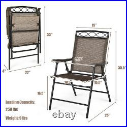 Costway 4PCS Folding Chairs Sling Portable Outdoor Patio Picnic Dining Chair Set