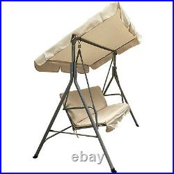Cream Swinging Hammock 3 Seater Outdoor Furniture Canopy Adjustable Garden Chair