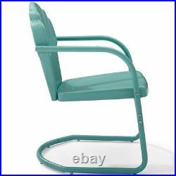 Crosley Tulip Metal Patio Chair in Blue (Set of 2)