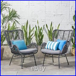 Crystal Outdoor Wicker Club Chairs with Cushions (Set of 2)