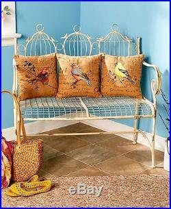 DISTRESS BIRD CAGE BENCH Patio Porch Outdoor Seat Country Rustic Antique Vintage