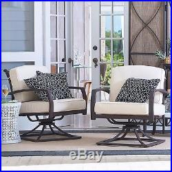 Dark Bronze Metal Outdoor Swivel Deep Seat Arm Chair Lounge Pool Patio Furniture