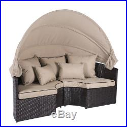 Daybed Patio Sofa Furniture Round Retractable Canopy Wicker Rattan Outdoor Brown
