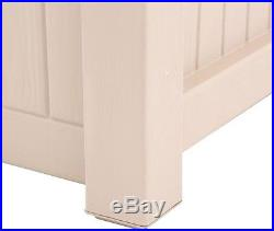 Deck Box Outdoor Bench Seat Storage Shed Lock Patio 70 Gal. Beige Brown Resin