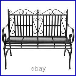 Decorative Patio Chair Garden Outdoor Furniture Park Bench Seat Backyard, Black