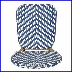 Deshler Outdoor Aluminum French Bistro Chairs, Set of 2, Navy Blue, White, and B
