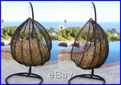 Double 2 Seat Wicker Hanging Chair Teardrop Resin Egg Swing Cushion Set Loveseat