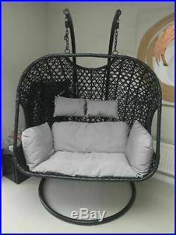 Double Black Rattan Hanging Swing Patio Garden Egg Chair Hammock Outdoor