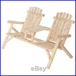 Double Cedar Log Adirondack Chair with Table, # SS-CSN-150