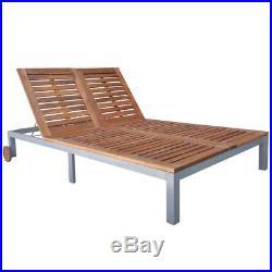 Double Chaise Sun Lounger Wheel Acacia Wood Outdoor Patio Garden Pool Furniture