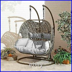 Double Cocoon Rattan egg Swing chair Patio Garden Hanging Outdoor furniture UK