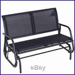 Double Metal Glider Bench Chair Patio Rocker Heavy-Duty Outdoor Garden Patio