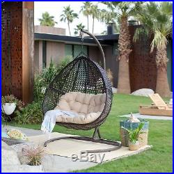 Double Resin Wicker Egg Chair with Stand Outdoor Hanging Patio Swing Cushion Porch