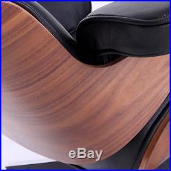 Eames Lounge Chair 100% Top Grain Italian Black Leather Walunt Wood -Genuine HOt