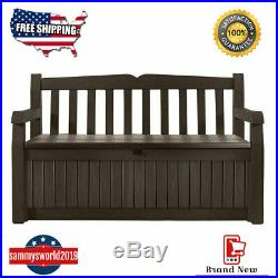 Eden 70 Gallon Storage Bench Deck Box for Patio Decor and Outdoor Seating Brown