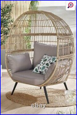 Effect Egg Chair Garden Outdoor Summer Seat With Cushion Rattan RRP £299