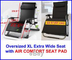 FOUR SEASONS Heavy Duty OVERSIZED XL Wide Seat Zero Gravity Chair With AIR CUSHION