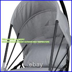 Foldable Hanging Egg Chair Outdoor Patio Hammock Swing Cushion Seat Canopy Stand