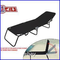 Foldable Outdoor Sun Lounger Recliner Bed Garden Chair Relaxing Camping Black