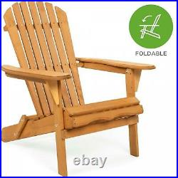 Foldable Wooden Adirondack Chair Outdoor Patio Furniture Lounge Seat Deck Pool